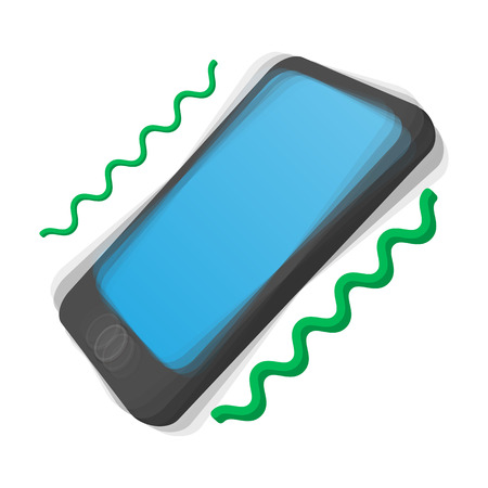 cellphone icon: Smartphone vibrating cartoon icon on a white background. Ringing phone