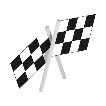 chequered: Chequered flags motor racing isometric 3d icon on a white background Illustration