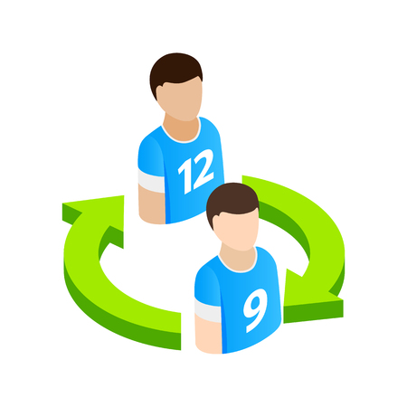 substitute: Replacement players in football isometric 3d icon on a white background Illustration