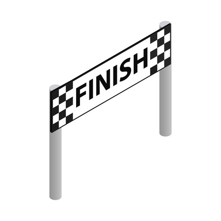 road line: Finish line isometric 3d icon on a white background