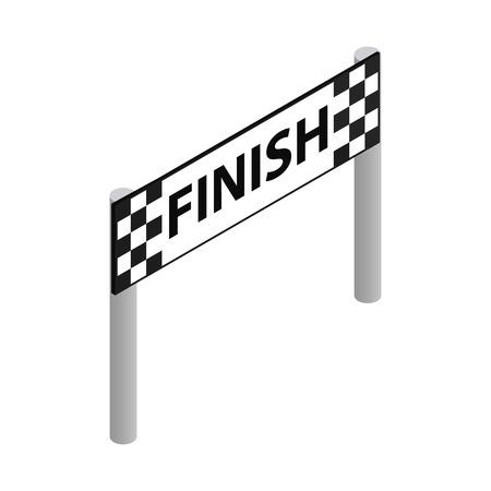 Finishlijn isometrische 3d pictogram op een witte achtergrond
