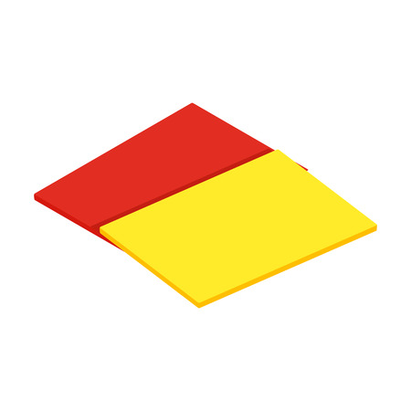 official: Red and yellow referee cards isometric 3d icon on a white background