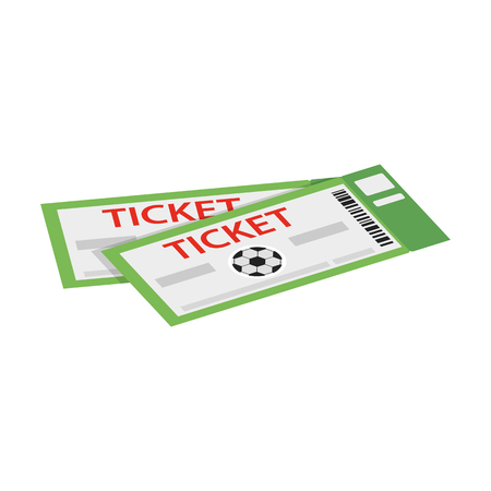 A pair of tickets for football isometric 3d icon on a white background Ilustração