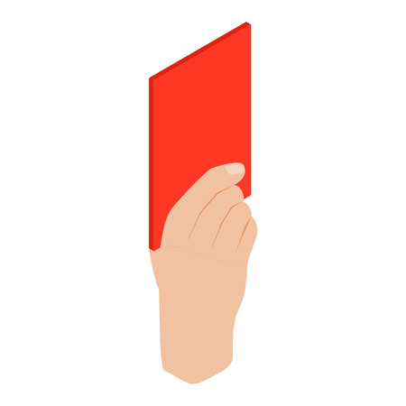 soccer referees hand with red card: Referee showing red card isometric 3d icon on a white background Illustration