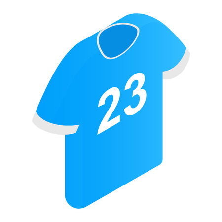 23: The sports t-shirt with the number 23 isometric 3d icon on a white background Illustration