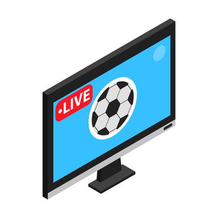 Fußballspiel im Fernsehen Live-Stream isometrische 3D-Symbol auf weißem Hintergrund Vektorgrafik