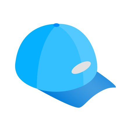 peak hat: Blue baseball hat isometric 3d icon on a white background