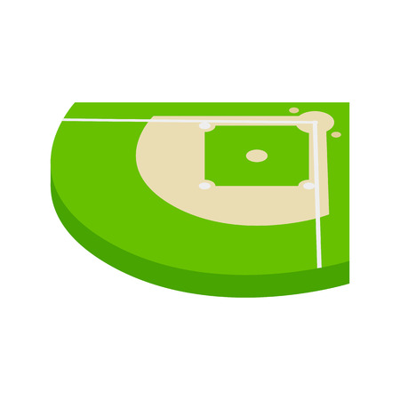 outfield: Baseball aield isometric 3d icon on a white background