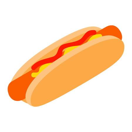 hotdog sandwiches: Hotdog with mustard and ketchup isometric 3d icon on a white background Illustration