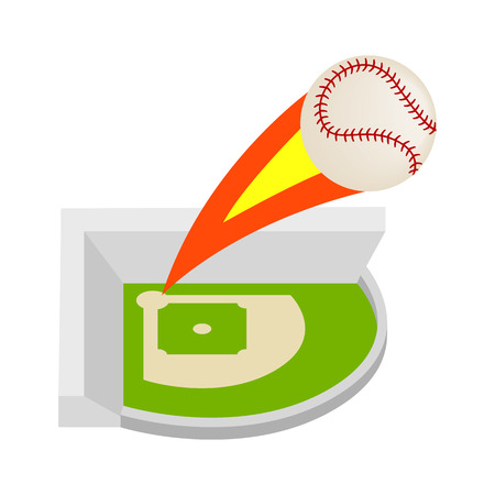 outfield: Strike ball isometric 3d icon on a white background