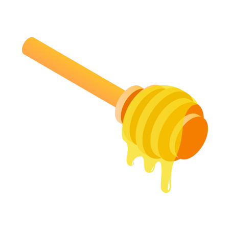 dipper: Honey dipper isometric 3d icon on a white background