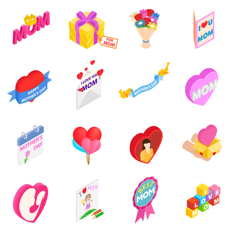 3d icons: Mother Day isometric 3d icons set isolated on white background