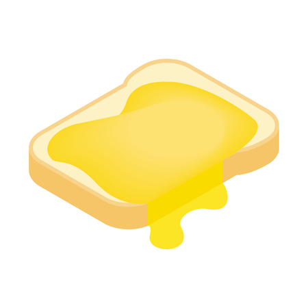 toasted sandwich: Slice of bread with honey isometric 3d icon on a white background