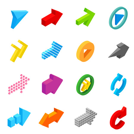 satin round: Arrow sign isometric 3d icons set isolated on white background Illustration