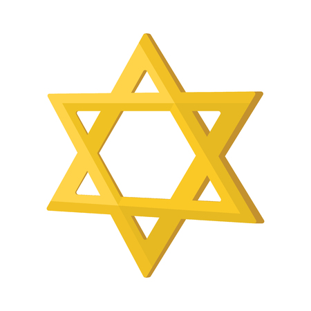 Gold jew star cartoon icon on a white background