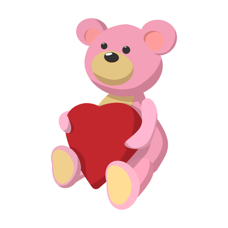 pink teddy bear: Pink teddy bear with heart cartoon icon on a white background