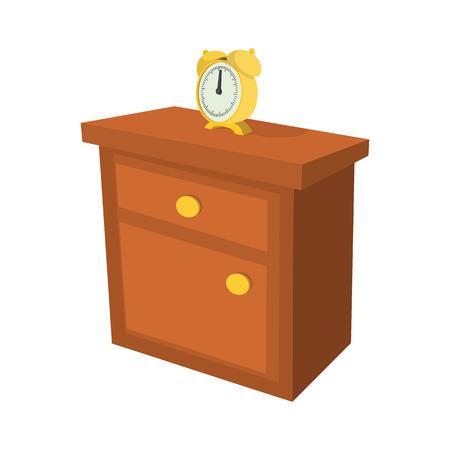 Nachtkastje met een cartoon klok pictogram op een witte achtergrond