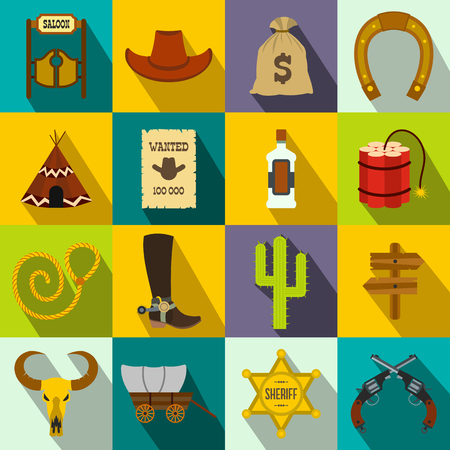 wild web: Wild west cowboy flat icons set for web and mobile devices