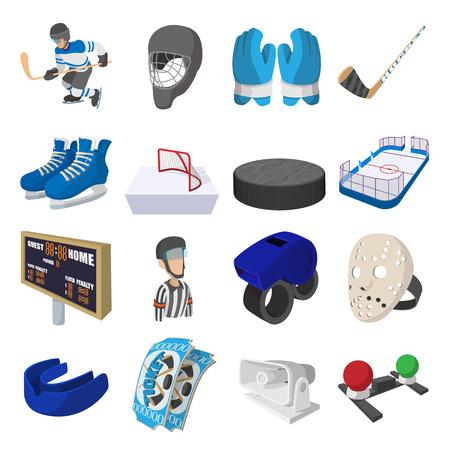 cartoon hockey: Hockey cartoon icons set for web and mobile devices