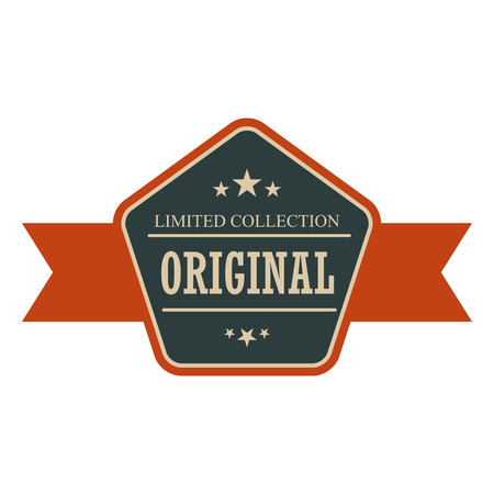 Original vintage banner. Blue and orange retro label with ribbon on a white background
