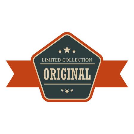 striscione d'epoca originali. etichetta blu e arancione retrò con nastro su uno sfondo bianco