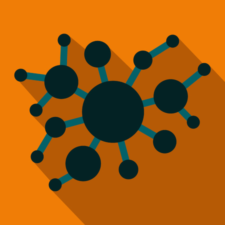 viral infection: A group of virus flat icon on a orange background Illustration