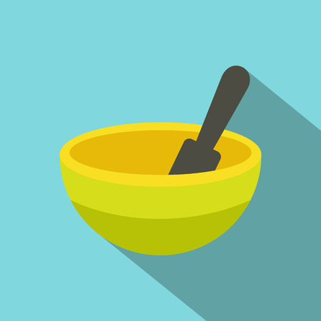 pestle: Yellow mortar and pestle flat icon on a blue background