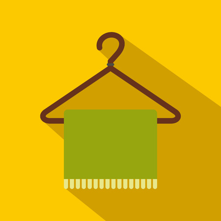 Green scarf on coat-hanger flat icon on a yellow background Illustration