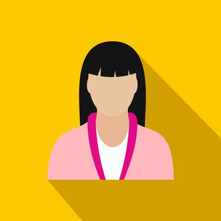beauty therapist: Spa massage therapist flat icon on a yellow background