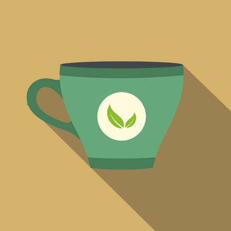 green tea cup: Green tea cup flat icon on a beige background Illustration