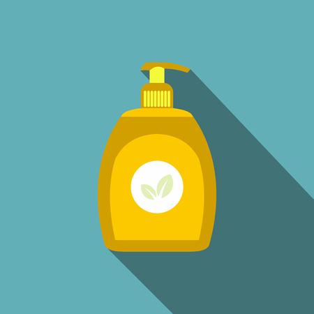 dishwashing liquid: Yellow plastic bottle with liquid soap flat icon on a blue background