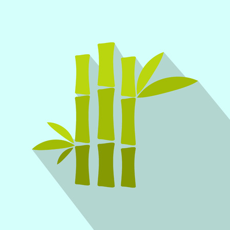 fengshui: Green bamboo stem flat icon on a light blue background
