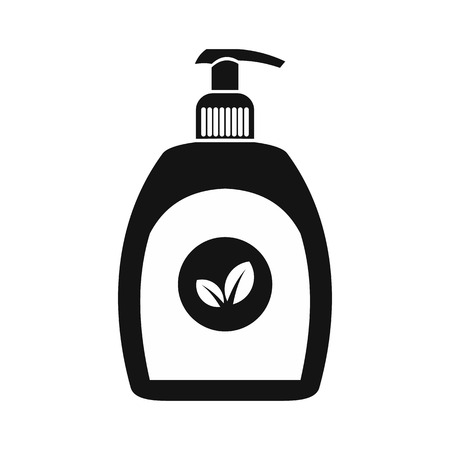 Plastic bottle black simple icon isolated on white background