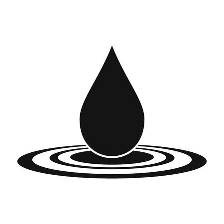 워터 드롭 검은 간단한 아이콘 흰색 배경에 고립 일러스트