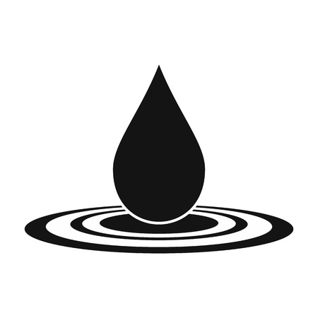 Water drop black simple icon isolated on white background