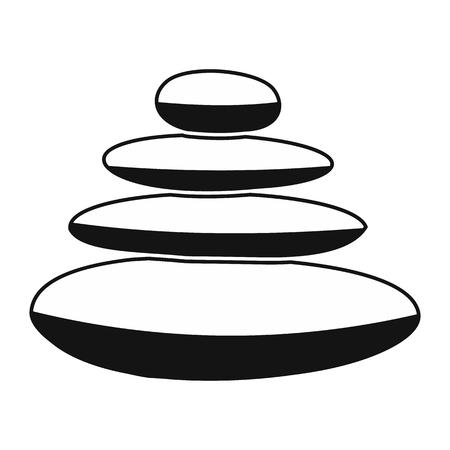 pebble: Zen basalt stones black simple icon isolated on white background Illustration