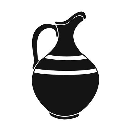 earthenware: Ceramic jug black simple icon isolated on white background Illustration