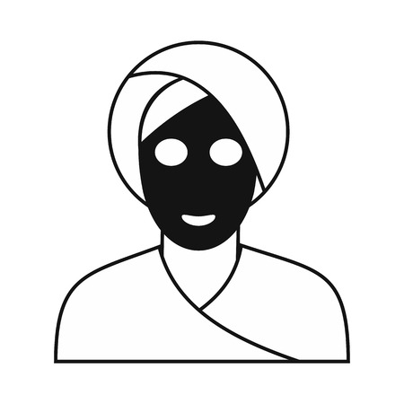 clay mask: Spa facial clay mask black simple icon isolated on white background