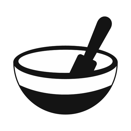 Mortar and pestle black simple icon isolated on white background