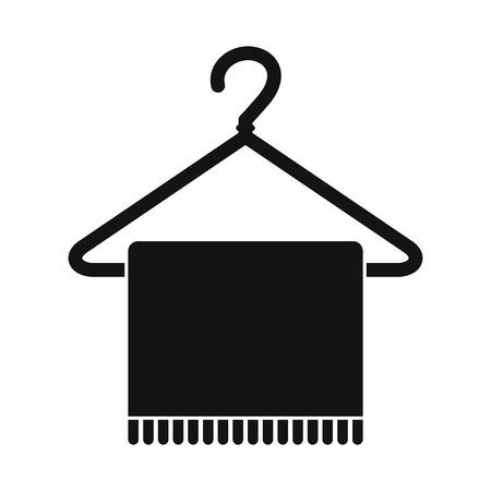 coathanger: Scarf on coat-hanger black simple icon isolated on white background