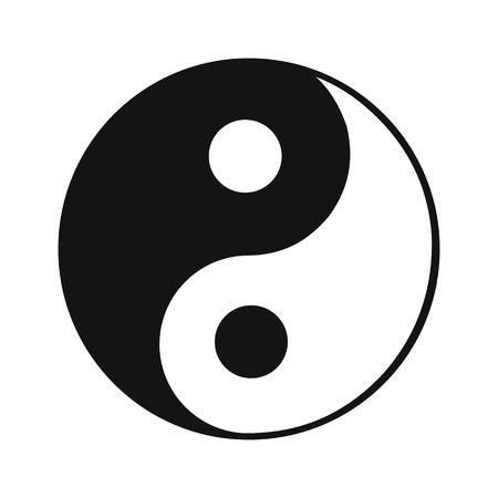 chinese philosophy: Ying yang black simple icon isolated on white background Illustration