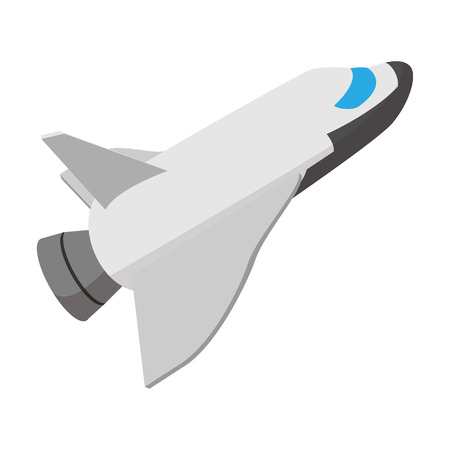 take a history: Space shuttle taking off cartoon icon on a white background