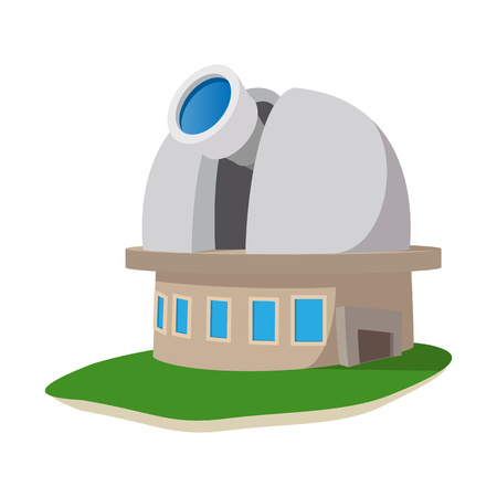 observatory: Observatory station cartoon icon on a white background