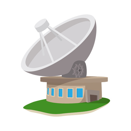 airwaves: Satellite communication station cartoon icon on a white background
