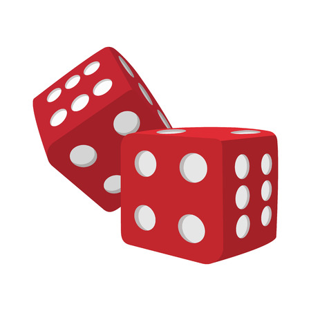 Red dice cartoon icon on a white background
