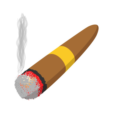 smoulder: Brown cigar burned cartoon icon on a white background Illustration