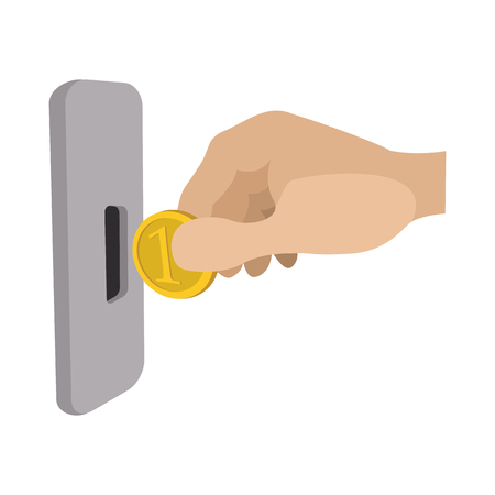 slot in: Human hand inserting coin in slot machine cartoon icon on a white background
