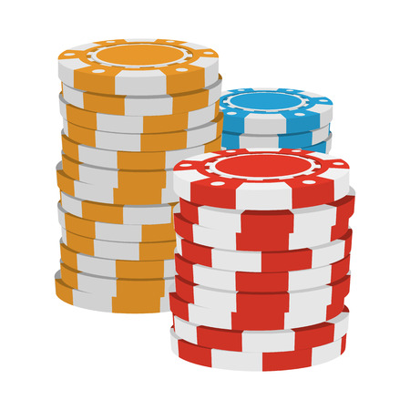 tokens: Red, yellow and blue casino tokens cartoon icon on a white background