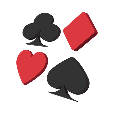 solitaire: Playing card suit in black and red cartoon icon on a white background Illustration