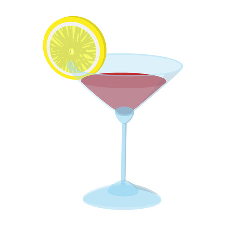 lime slice: Cocktail with a lime slice cartoon icon on a white background